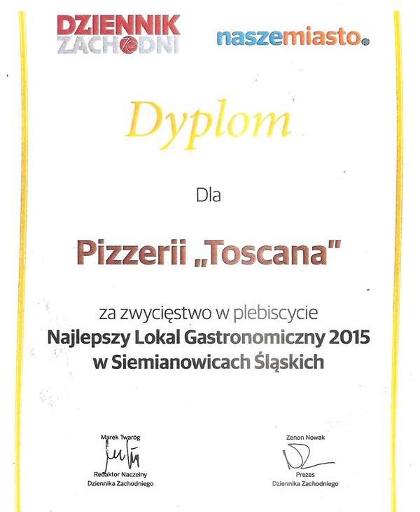 Dyplom: Najlepszy Lokal Gastronomiczny w Siemianowicach Śląskich w 2015 roku
